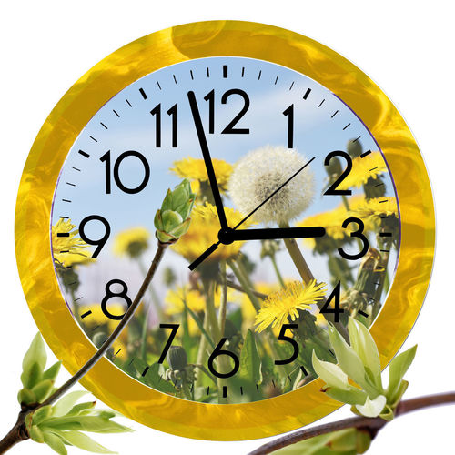 Close-up of yellow clock over white background