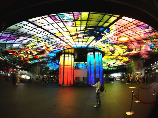 Real People Architecture Indoors  Illuminated Built Structure Multi Colored Large Group Of People Men Women Day People