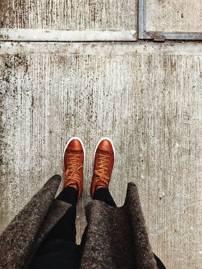 Sneakers Shoe Low Section Human Leg Standing Personal Perspective One Person Human Body Part Lifestyles Real People Directly Above Outdoors Adult Adults Only Only Men People Close-up Day Men One Man Only