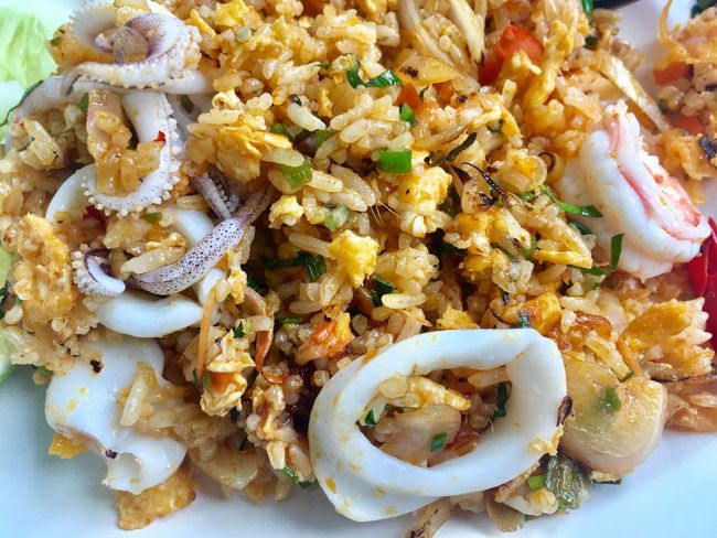 Tom Yum seafood fried rice, Thai dish. Food Food And Drink Ready-to-eat Serving Size Freshness Plate Healthy Eating Rice - Food Staple Seafood No People Close-up Fried Rice Indoors  Day Thai Food Thai Foods Homemade Cuisine Cooking Delicious Street Food Bangkok Thailand Tom Yum Spicy Food