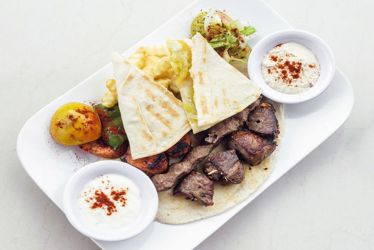 middle eastern grilled meat traditional meal Lebanese Food Meal Bbq Meat Beef Food Garnished Gourmet Grill Grilled Meats Meat Middle Eastern Food Pita Bread Set Meal Traditional