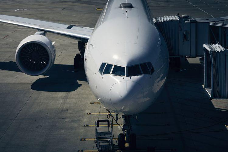 Airplane at airport runway