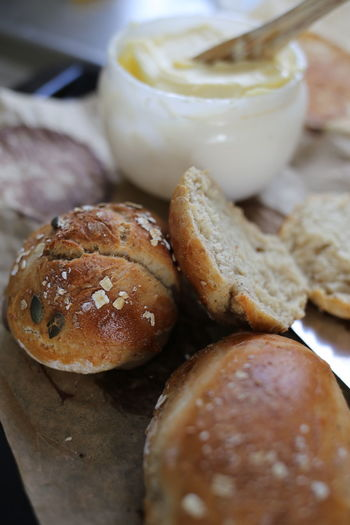 Close-up of bread in container on table