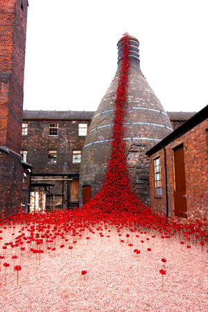 Architecture Brick Building Building Exterior Built Structure Ceramic Art Day Decoration Low Angle View No People Outdoors Poppies  Red Tree Weeping Poppies