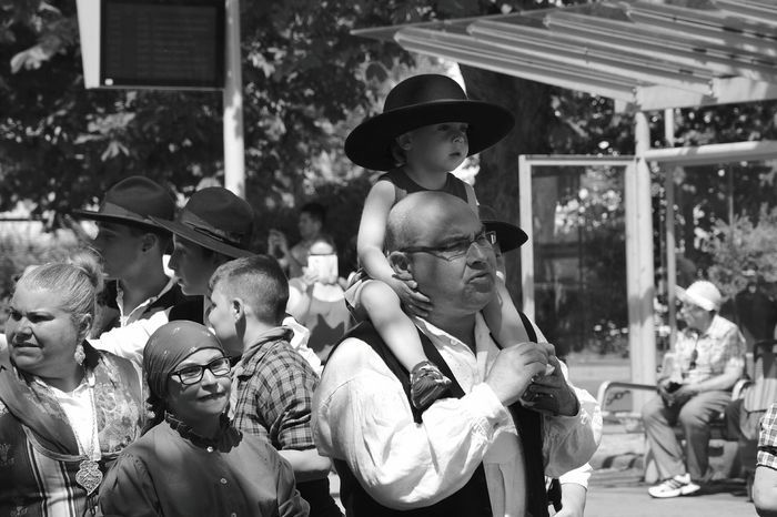Childhood Celebration Adult People Child Togetherness Period Costume Arts Culture And Entertainment Outdoors The Photojournalist - 2017 EyeEm Awards The Portraitist - 2017 EyeEm Awards Father Fatherhood Moments Father And Son Family Out Of The Box Place Of Heart Black And White Black & White Monochrome Photography Monochrome Live For The Story The Street Photographer - 2017 EyeEm Awards