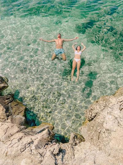 High angle view of friends enjoying at sea shore