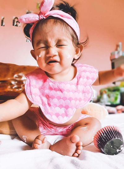 Cupcake baby Baby Headband Milestone BabyGirls Are The Most Precious Gifts Ever :)  BabyGirls Are The Most Precious Gifts Ever :)  Baby Photography Cup Cakes Cupcakelovers Childhood Child Sitting Girls Looking Down Cute Playing One Person Human Body Part People Full Length Babies Only Indoors  Crumpled Paper Day Adult