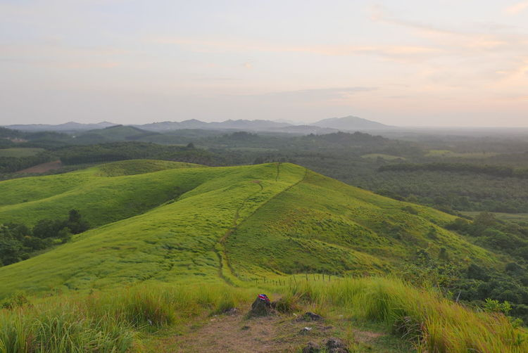 Banjarmasin Hills Travelling Beauty In Nature Day Field Grass Green Color Landscape Mountain Nature No People Outdoors Scenics Sky South Borneo Sunset Tranquil Scene Tranquility