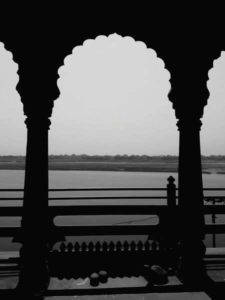 Heritage Building Travel History Travel Destinations Architectural Column City Architecture Day Arch Heritage Site Outdoors Blackandwhitephotography Benaras River View Riverbank Riverside Photography Heritage Hotel