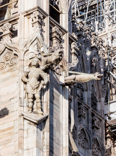 Close-Up Of Carvings On Milan Cathedral