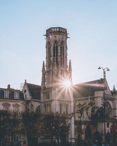 Architectures of Paris, France. Built Structure Architecture Building Exterior Sky Building Nature Sunlight Low Angle View The Past Sunbeam History Lens Flare Travel Destinations No People Clear Sky Day Sun City Place Of Worship Religion Outdoors Gothic Style Morning Sunrise