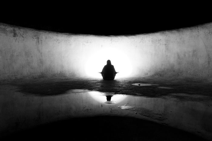 Adult Art Contemplation Day Leisure Activity Mediation Monochrome Nature One Person Outdoors People Real People Rear View Reflection Silhouette Water Women Women Only Inner Power HUAWEI Photo Award: After Dark