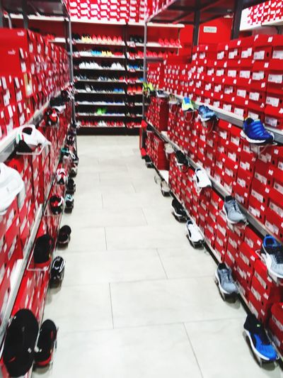 Red Day Footwear Shopping Time