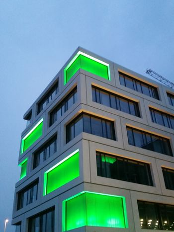 Showcase April Building Architecture Green Neon Symmetry Symmetrical