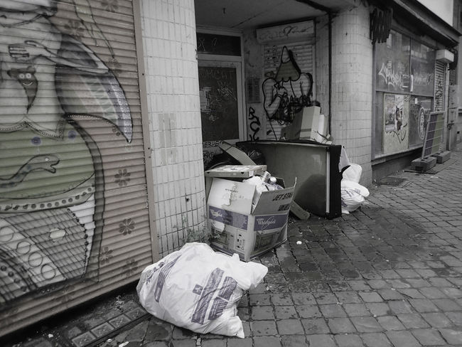 Abandoned Belgium Brussels Dirty Garbage Graffiti Large Group Of Objects Messy Paving Stone Street Scene Unhygienic
