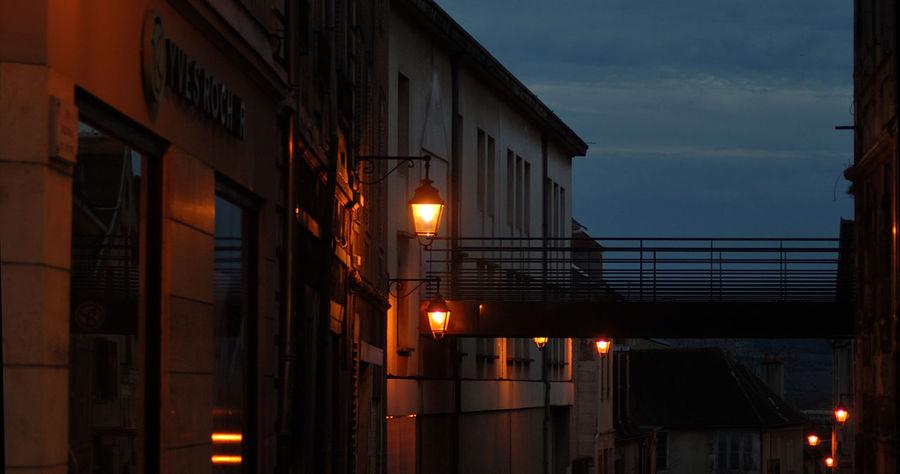 Architecture Auxerre Illuminated Lighting Equipment Night Noel2015 Nuit Passerelle Réverbère Lampadaire Urban Wall