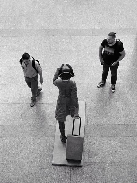 St. Petersburg, Russia - May 30, 2018: Meeting of three travelers. Editorial  Art Reportage Black And White Blackandwhite Russians Russia Street Photography Streetphotography Monochrome Baggage Luggage Travelers Passengers Statue Peter The Great Peter I Terminal Departure Airport Pulkovo EyeEm Selects Full Length Men High Angle View Real People People Group Of People