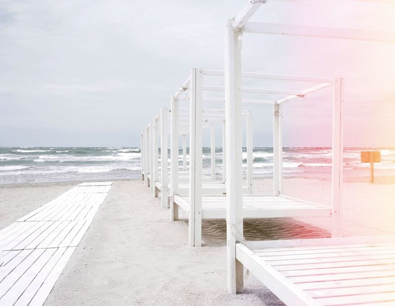 Sunbed White Water Sea Beach Sand Sky Tranquil Scene Idyllic Calm Scenics Horizon Over Water Tranquility Shore
