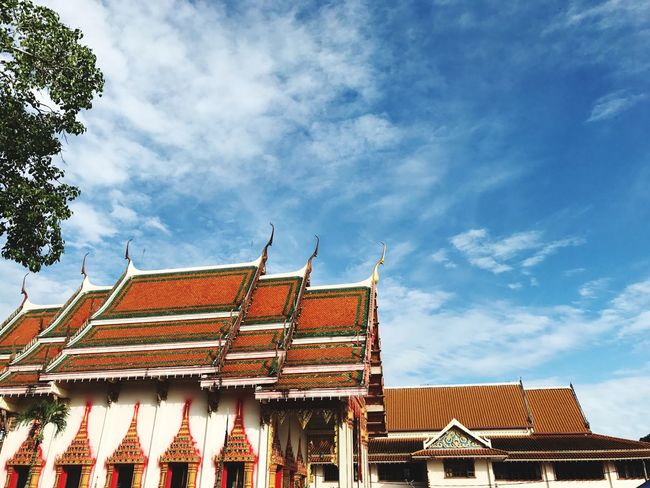 Building Exterior Architecture Roof Built Structure Day Sky Eaves Low Angle View Cloud - Sky Traditional Building Outdoors No People Place Of Worship Tree Tiled Roof