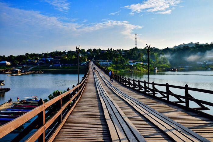 vacation at Sangklaburi Bridge Wood Mynmar Karnchanaburi Thailand Sangklaburi Traditional Culture
