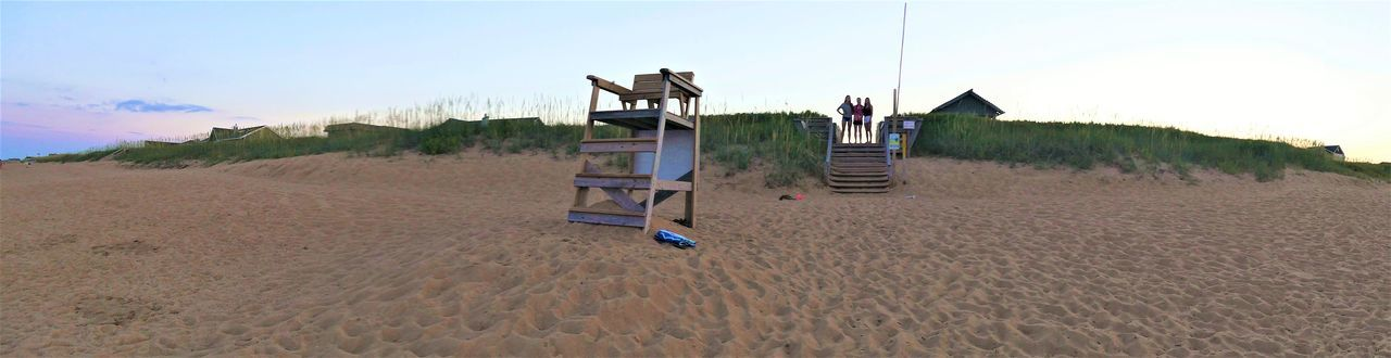 LIFEGUARD OFF DUTY Lifeguard Tower North Carolina Beach PANORAMA PHOTO OF THE BEACH TRIPLET ATTITUDE Dunes Sand Landscape Outdoors Sand Dune Sky Triplets