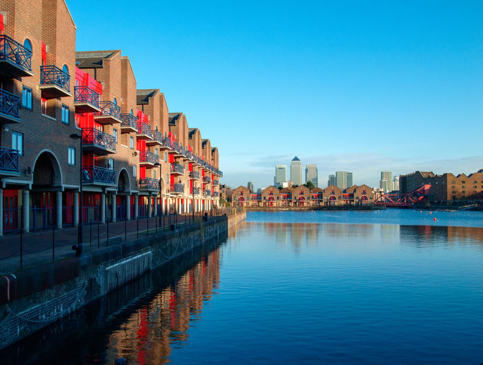 View from Shadwell Basin. Architecture Blue Building Exterior Built Structure City City Life Clear Sky Colorful Day Docklands In A Row Multi Colored No People Outdoors Red Residential Building Residential District Sky Town Travel Destinations Water Waterfront
