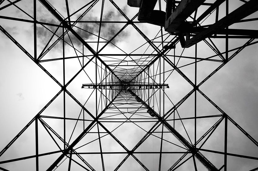 .::Radio Tower 1::. Pattern Low Angle View Full Frame Backgrounds Ceiling Architecture Built Structure No People Indoors  Symmetry Day Sky Girder Vanishing Point VP MADE IN SWEDEN Intense Nothingness Minimalism Minimalobsession Diminishing Perspective Blackandwhite Black And White Excellence Radio Tower Lookingup Looking Up