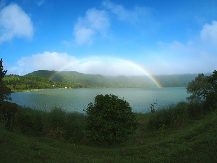 Rainbow Cloud - Sky Tree Double Rainbow Water Beauty In Nature Nature Sky Outdoors Scenics No People Mountain Day Multi Colored Spectrum Lagoon Furnas Azores Açores - São Miguel Island Landscape Vulcanic Landscape Vulcanic The Week On EyeEm