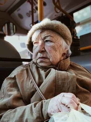 Memories. Holocaust Remembrance Day מייאייפון10 IPhoneX ShotOnIphone Mydbusmoments One Person Real People Lifestyles Senior Adult Mode Of Transportation Portrait This Is Aging