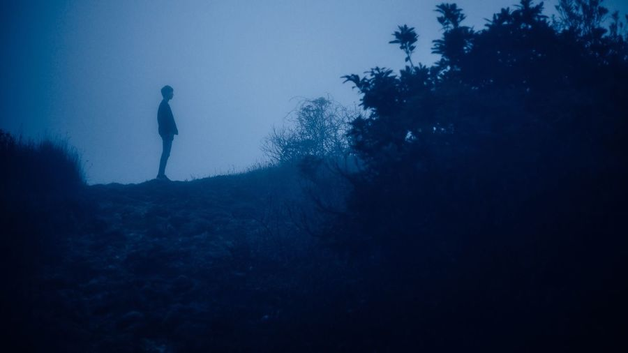 SILHOUETTE OF MAN STANDING IN MISTY LANDSCAPE