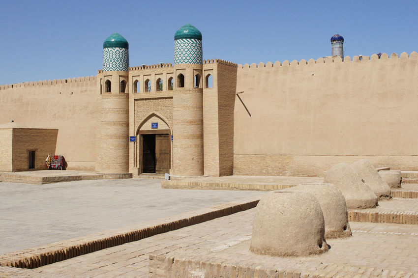 Ancient citadel of Khiva, Silk Road, Uzbekistan Ancient Architecture ASIA Building Exterior Built Structure Central Asia Citadel City Day Desert Oasis Famous Place Fort Fortress Khiva Middle East No People Old Outdoors Silk Road Tourism Tourist Attraction  Town Travel Travel Destinations Uzbekistan