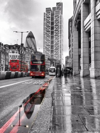 Gherkin. Bus. Puddleography IPhoneography EyeEm Best Shots Taking Photos