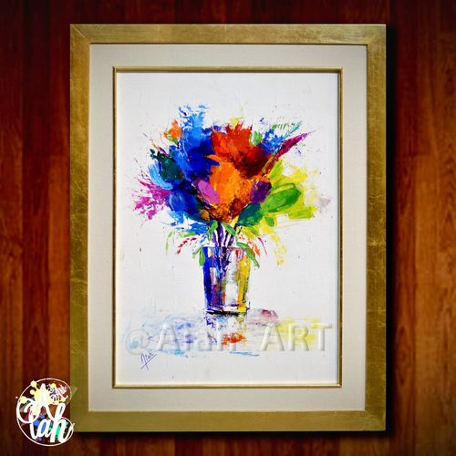 Flower Painted Image Bouquet Aiah_art Original Artistic Contemporary Art Modern Art Gallery Aiah_artwork Colors Decor Acrylic Painting Modern Design Photograph Wall Art Decorations Multi Colored Abstract