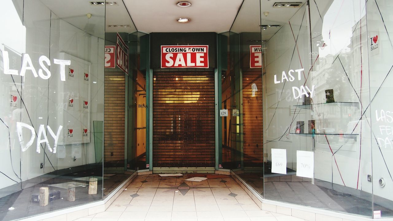 Sale sign on closed store
