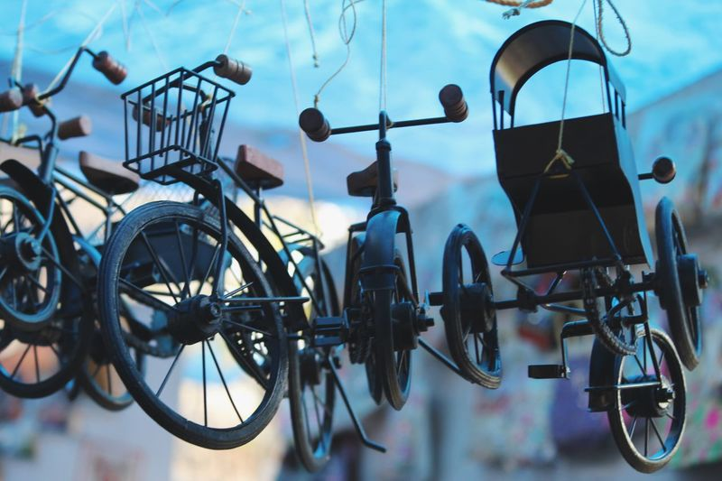 """""""Technique creates Pretty Pictures, Vision creates Art!"""" Bicycle Transportation Mode Of Transportation No People Wheel Land Vehicle Hanging Day Close-up Stationary Outdoors Blue Wall - Building Feature Side By Side Tire Sky Nature Low Angle View Parking"""