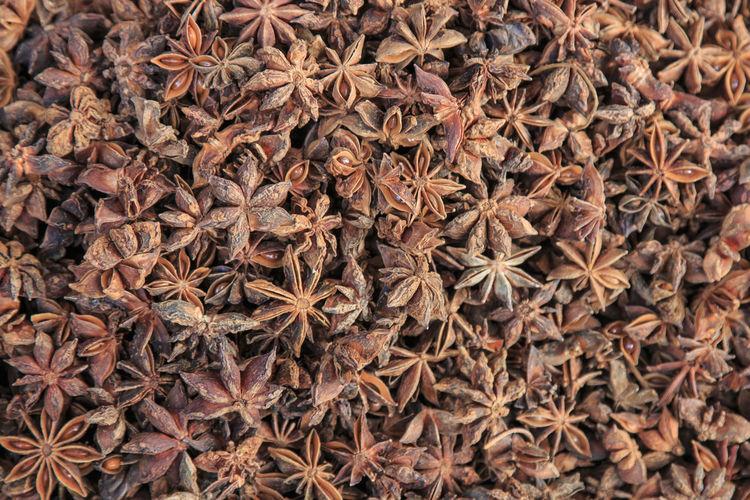 Full frame shot of star anise at market for sale