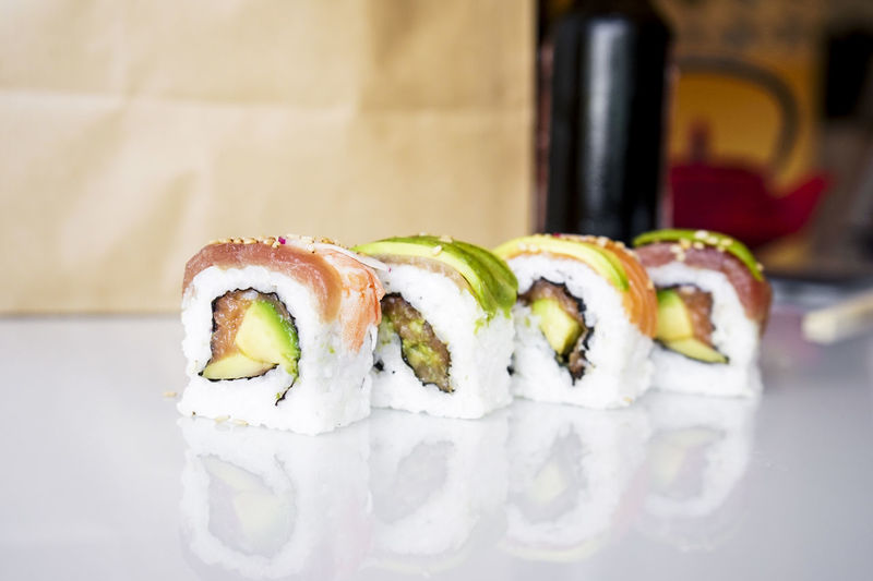 Close-up of sushi on table