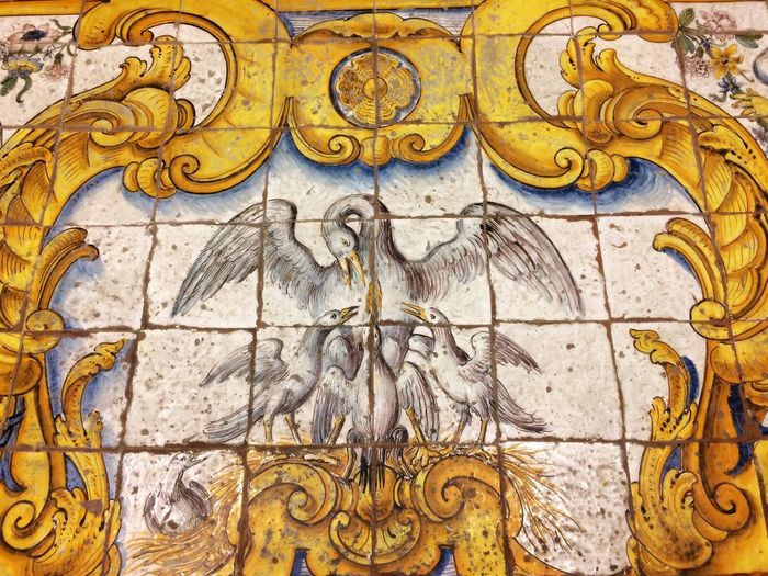 Close-up No People Architecture Anacapri Italy Capri Maioliche ChiesadiSanMichele Church Pavement Pavimento Birds Bible Anacapri Azulejos Maiolica Padlózat Templom