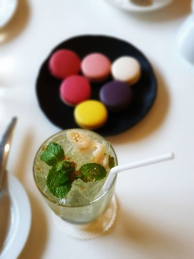 No People No Person Day Macaroon Gelatin Dessert Candy Table Close-up Sweet Food Food And Drink Ice Cube Mojito Tropical Drink Drinking Straw Served Mint Leaf - Culinary
