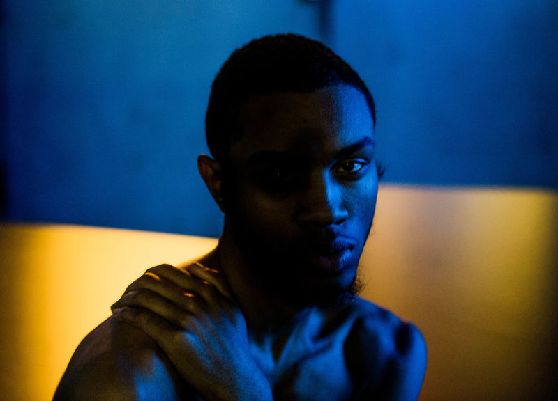 Portrait Environmental Portrait African American Shirtless Blue Close-up Indoors  One Person People Portrait Warm Cool Young Adult