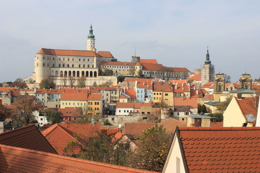 Architecture Building Exterior Built Structure City Cityscape Clock Tower Czech Republic Day History Medieval Mikulov No People Old-fashioned Outdoors Residential Building Roof Sky Tower Travel Destinations
