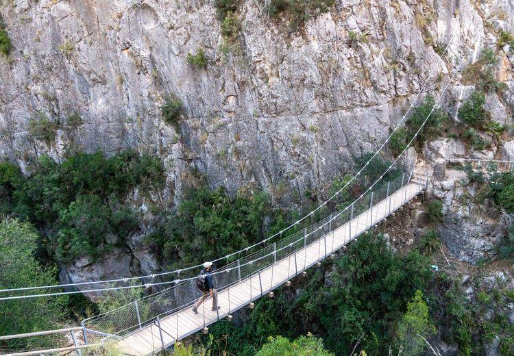 High angle view of bridge over mountain
