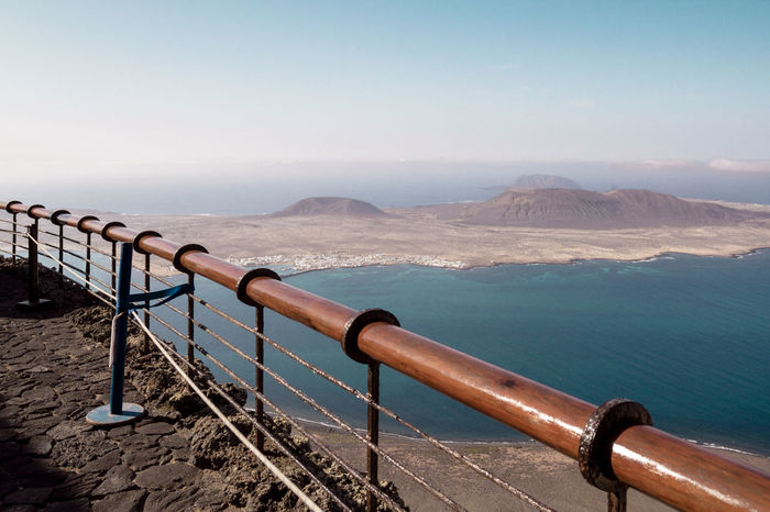 Mirador de Rio Atlantic Ocean Handrail  La Graciosa Lanzarote Lookout Mirador Del Río Mountain Observation Point Overlook Scenic Outpost Scenics Sightseeing Sky Tour Tourism Tranquil Scene Tranquility Vantage Point Viewpoint Vulcano