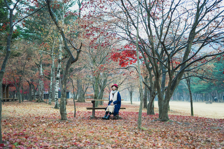 Young Woman Sitting On Bench At Park During Autumn