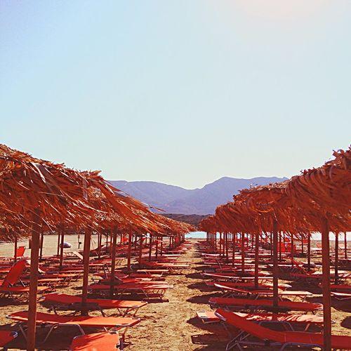 Greece, Crete Elafonisi Sunbeds Beach Summertime