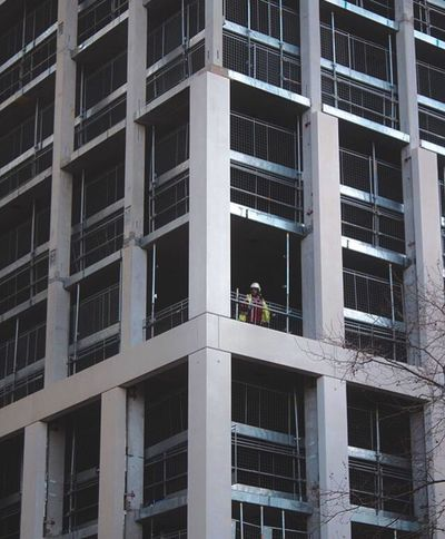 Building Exterior Window Built Structure Architecture Working Window Washer Men Occupation Cleaning Manual Worker Outdoors Only Men Low Angle View Day Washing One Person Modern Adults Only Office Building Exterior Adult