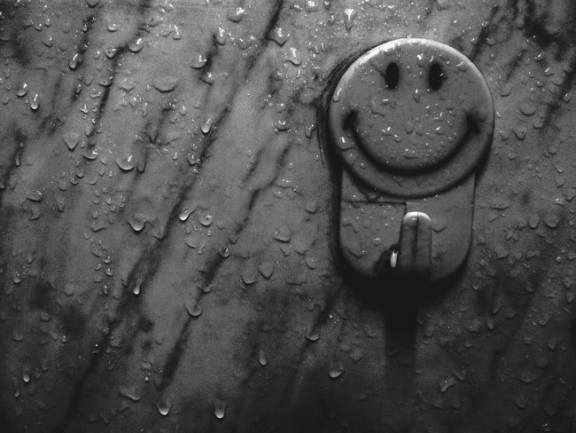 Monochrome Photography No People Circle Tranquility Creativity Blackandwhite Photography Black And White Smiley Face Water Droplets Waterdrops Rainy Days Smile Smiling Over The Pain. Smiling Through The Pain