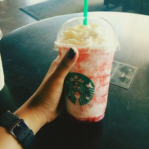 lemme chill for a moment and take a sip to my strawberry coffee. ☕🍓 Food And Drink Drink Drinking Straw Human Hand Adult Only Women Food Freshness Day Ready-to-eat Close-up Alone. Alone Trip Starbucks <3 Starbuckscoffee Starbucksaddict