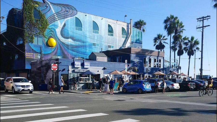 Venice Beach Bar&grill People Cars Design Street Crosswalk Bike ArtWork Picturing Individuality