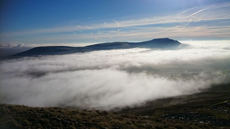 Yorkshire three peaks Yorkshire Three Peaks Yorkshire Ingleborough Whernside Cloud Cover Mountain Clouds Above The Clouds Hills Nature Beauty Fells Weather